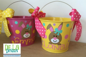 Personalized Easter baskets for kids, 5 quart metal bucket, name or monogram