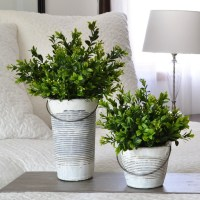 Faux boxwood in white pail-the scoop for mommies