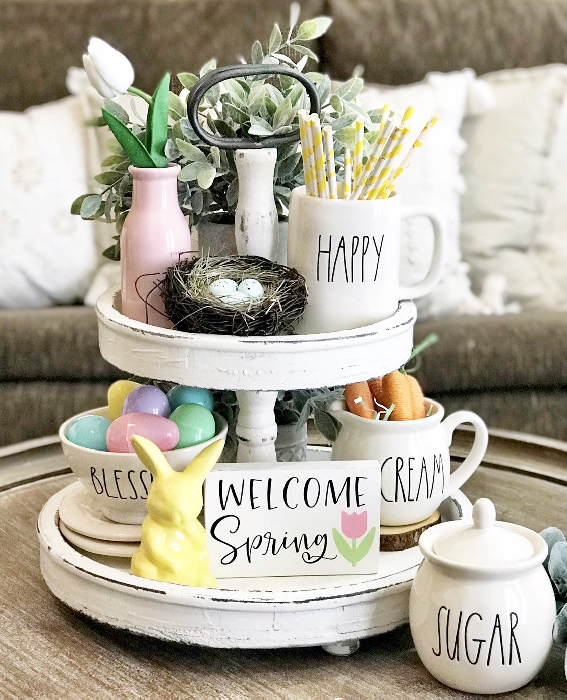 Welcome Spring Sign for Tiered Tray