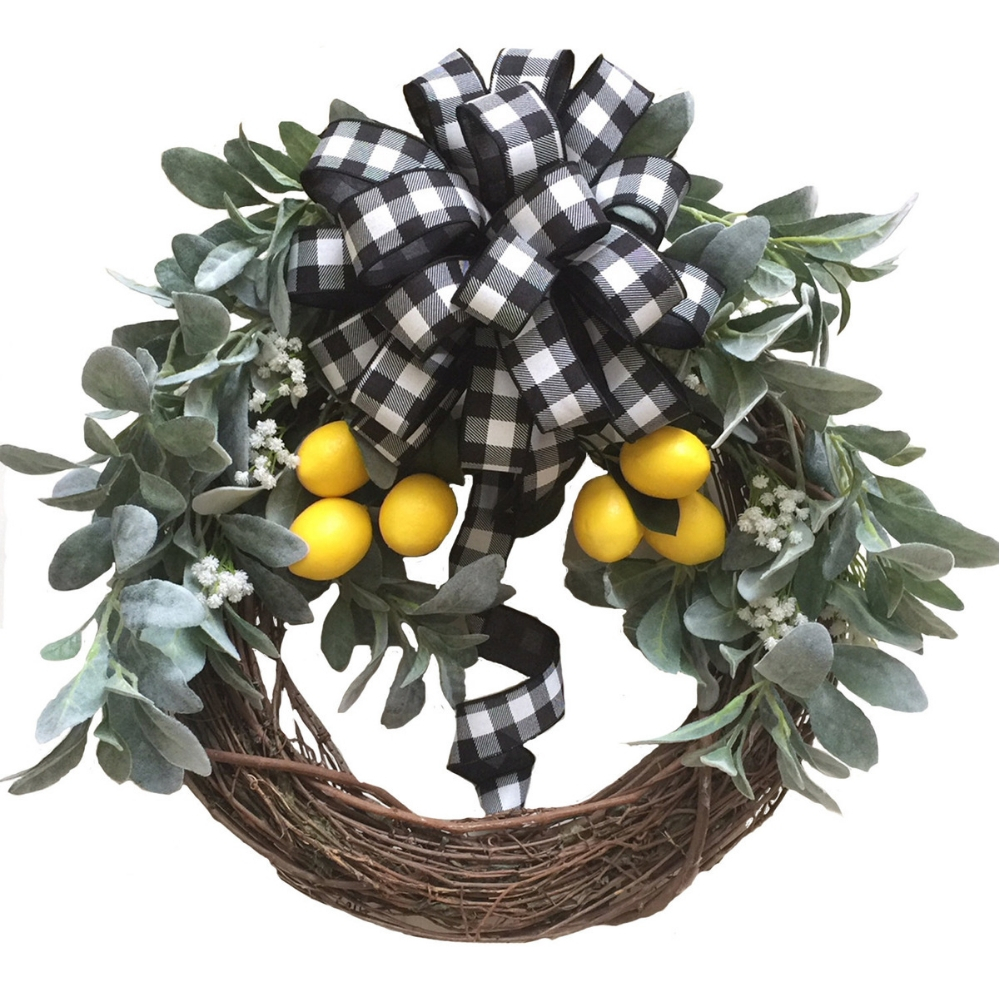 Spring Wreath for the Front Door with lambs ear greenery lemons and plaid buffalo check black and white
