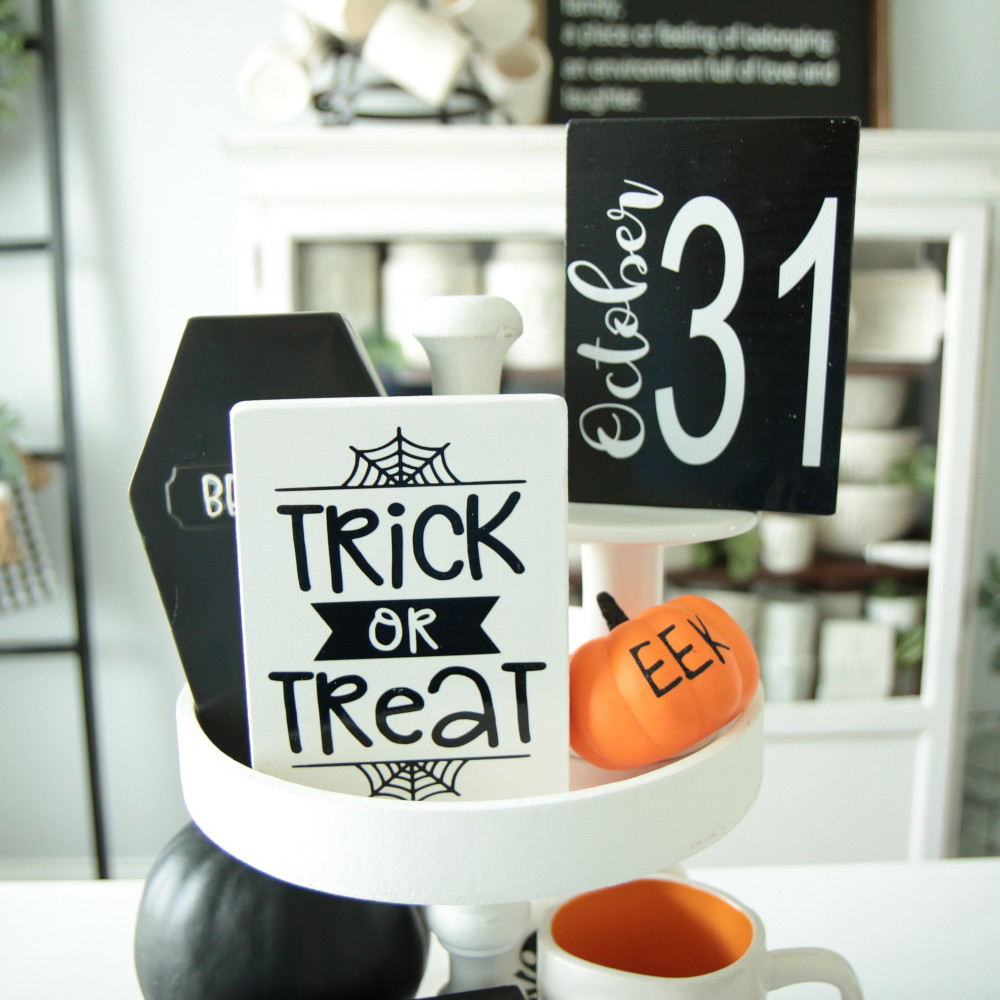 Set of 4-Halloween Sign-Boo-Trick or Treat-Oct 31-October-Happy Halloween-Fall-Small Frameless Signs-Tier Tray Sign-Tiered Tray-Rae Dunn