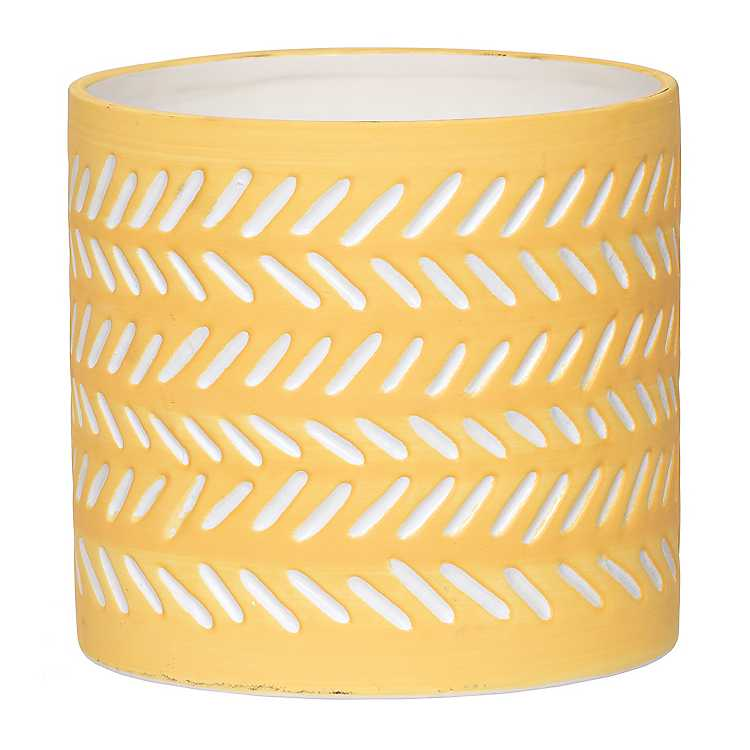 Yellow Global Etched Ceramic Planter