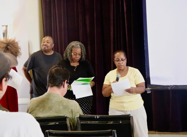 (Left to right) Marvin Martin, Angela Williams-Mitchell and Alma Chislom shared their experiences and ideas with residents at the Boston People's Plan Assembly, Sat. 22 in Field's Corner. Photo by Eileen O'Grady.
