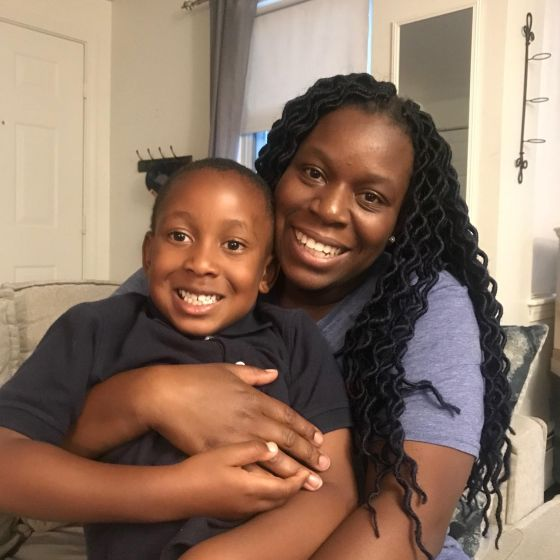 Mission Hill resident Roni Partin with her son, who is 6-years-old. Photo by Lex Weaver.