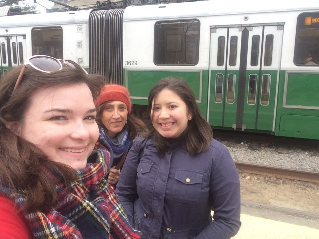 (Left to right) Catherine Gaggioli, Judy Gelman and Araceli Hintermeister founded Books on the T in Boston in 2017. Photo courtesy of Catherine Gaggioli.