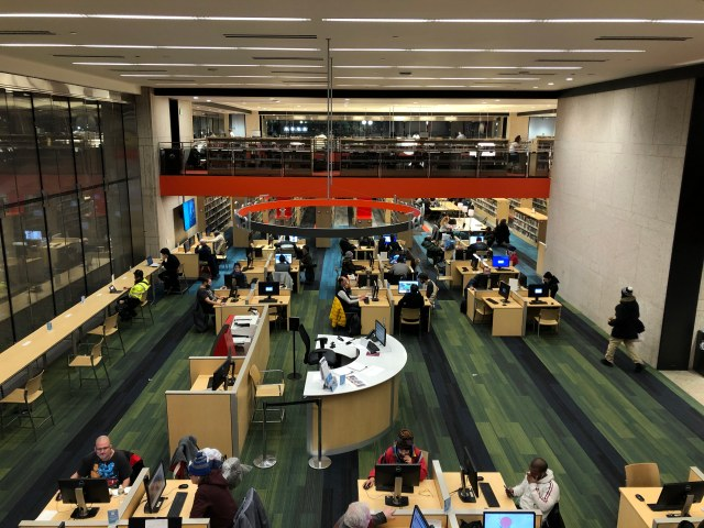In Tech Central at Boston Public Library's Copley branch, people can access digital services and a consistent reliable connection. Photo by Eileen O'Grady.