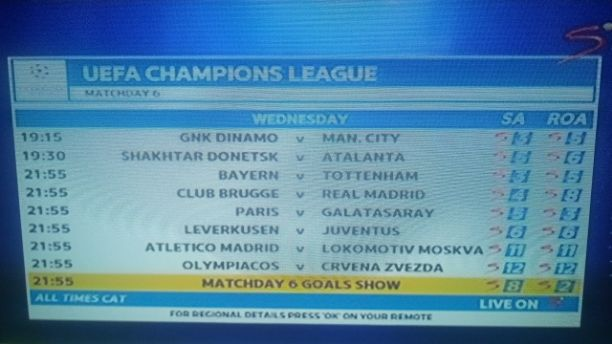 19/20 UEFA Champions League Matchday 6 Fixtures for Wednesday