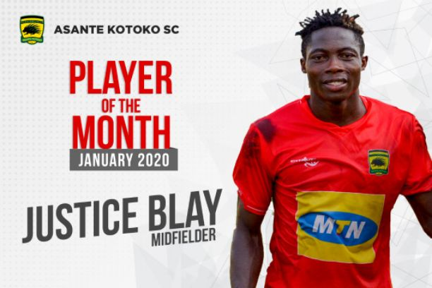 Justice Blay Named Asante Kotoko Player Of The Month For January