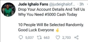 Odion Jude Ighalo rewarded 10 lucky fans with N5000 each on his Twitter fans page (screenshot)