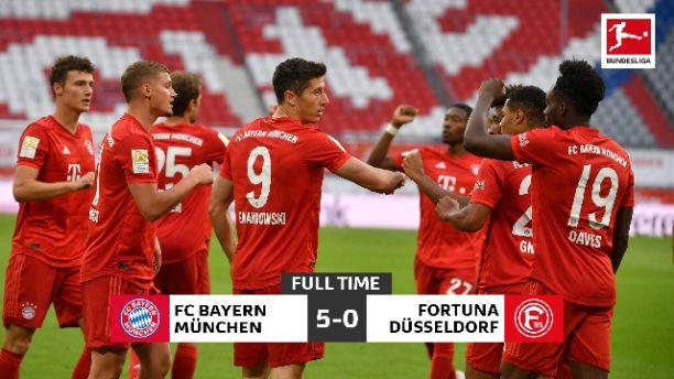 Lewandowski scores brace as Bayern Munich thrash Dusseldorf 5-0