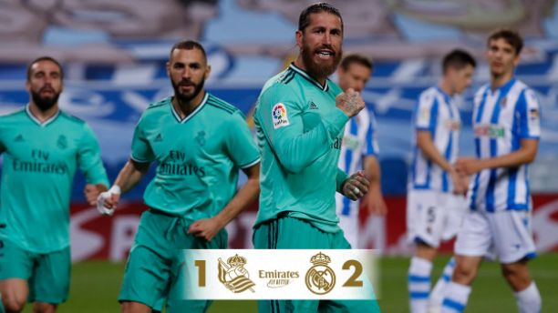 Real Sociedad 1-2 Real Madrid: Ramos, Benzema scores to fire Madrid to top LaLiga table