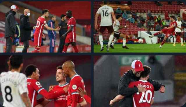 Diogo Jotascores his Premier League debut for Liverpool 3-1 Arsenal