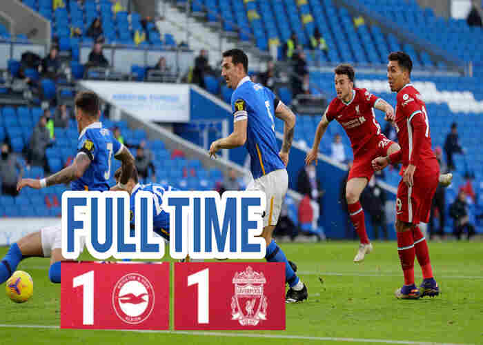 Brighton holds Liverpool to 1-1 draw as VAR is against the Reds