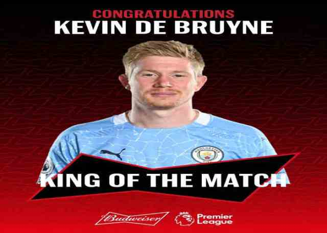Chelsea 1-3 Manchester City: De Bruyne wins king of the match after scoring a goal with an assist against Chelsea