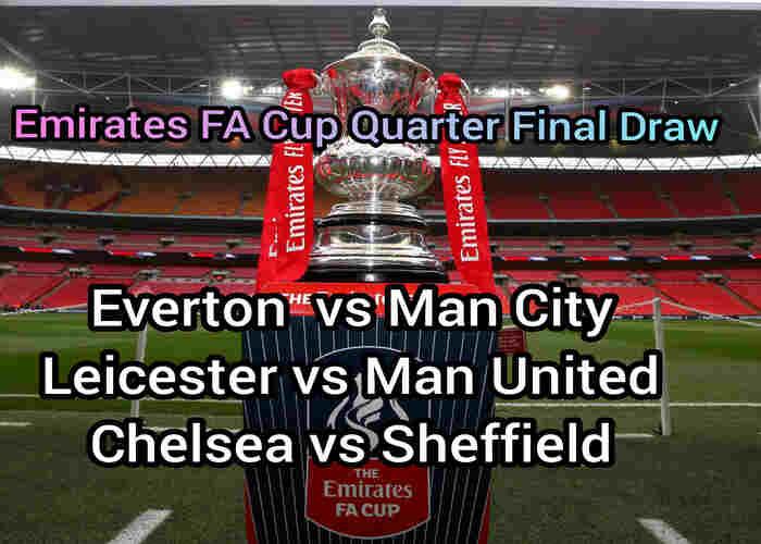 Emirates FA Cup quarter final draw