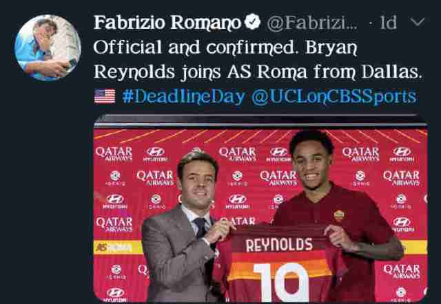 FC Dallas warns Fabrizio Romano after star player joins AS Roma