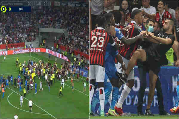Several Marseille players injured after strangled by OGC Nice fans