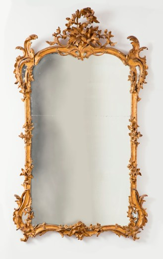 Mirror. England, ca. 1760. Carved and gilt pine, mirrored glass. H x W x D: 182.9 x 109.2 x 17.8 cm (6 ft. x 43 in. x 7 in.). Bequest of Mary Hayward Weir, 1968-158-4.