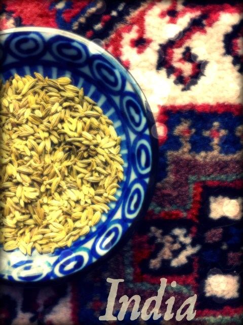 An India postcard that I made with a picture of fennel seeds.