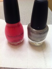 1: You'll need two colors for this nail project. I'm using Sinful Colors Pink Forever and a silver that has hardeners.