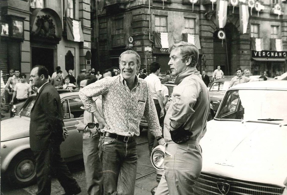 Michael Deeley and Michael Caine on the set of The Italina Job (1969)