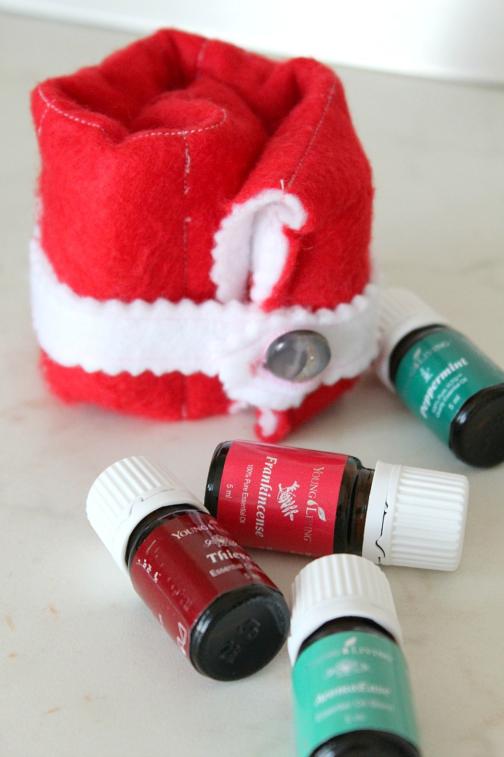 Essential oils carrier in red and white, next to four bottles of essential oils.