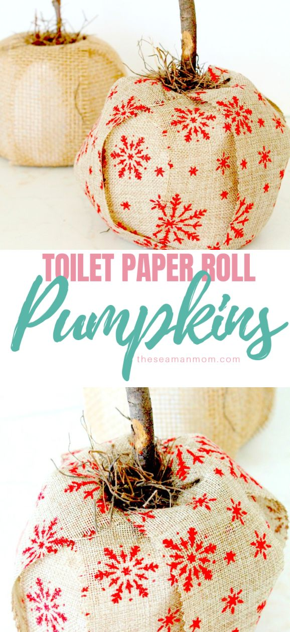 Make gorgeous fall decor with this toilet paper pumpkin craft! Adorable and inexpensive, these lovely burlap pumpkins are crazy easy to make, with items you already have on hand! via @petroneagu