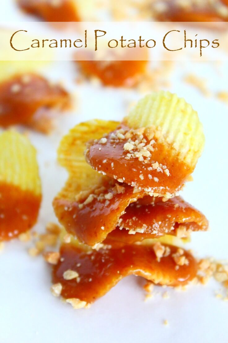 Caramel Chips snacks on white counter top