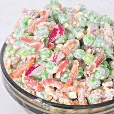 Creamy bacon pea salad with feta cheese