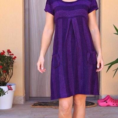 Easy Striped Knit Dress With Pockets