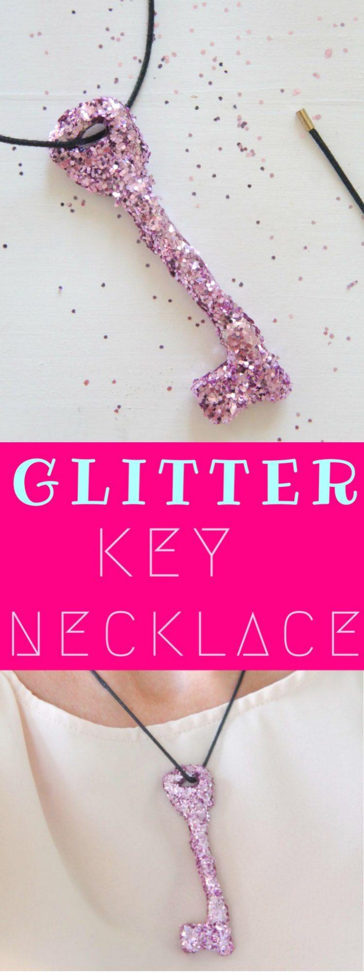 DIY Glitter Key Necklace