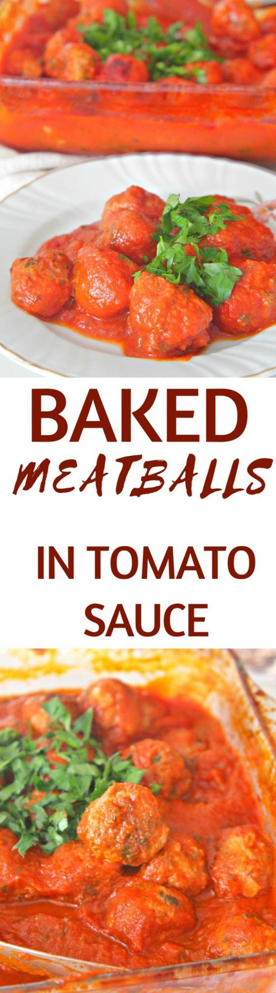 These amazing baked meatballs in sauce are insanely delicious and the perfect accompaniment to a pasta dish! Great comfort food, perfect winter meal!