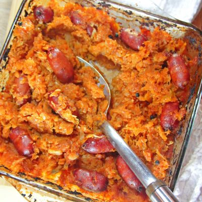 Baked Cabbage With Sausages