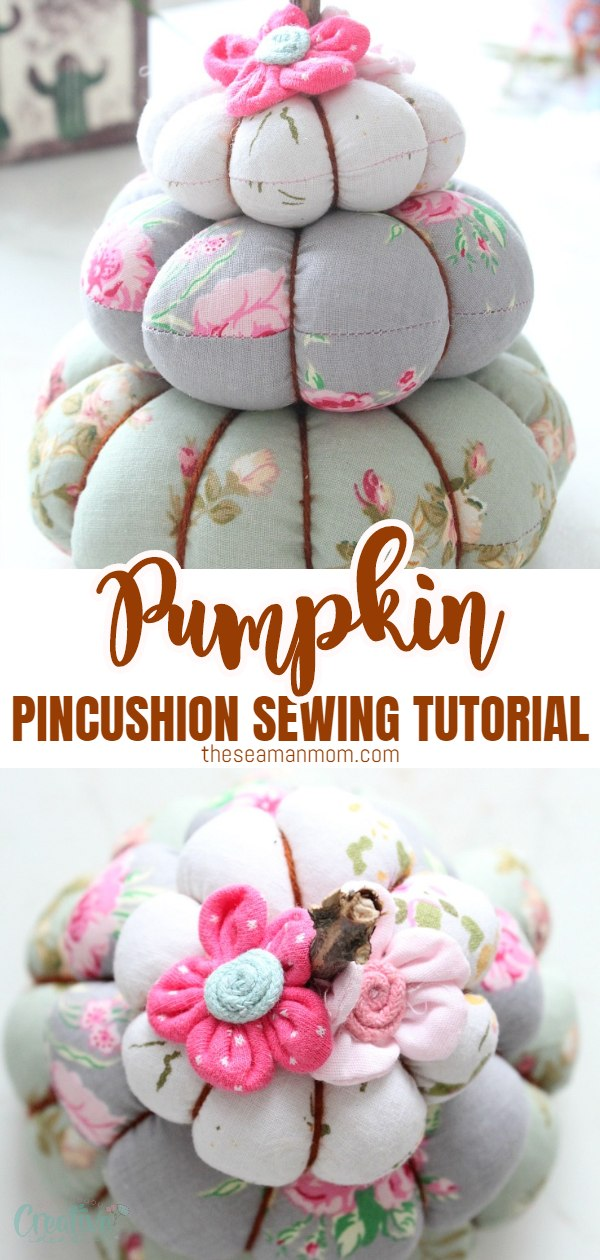 Make yourself a cute storage space for your pins and needles with this quick tutorial for a pumpkin pincushion! This trio pumpkin stack would also make a great home decor for fall. via @petroneagu