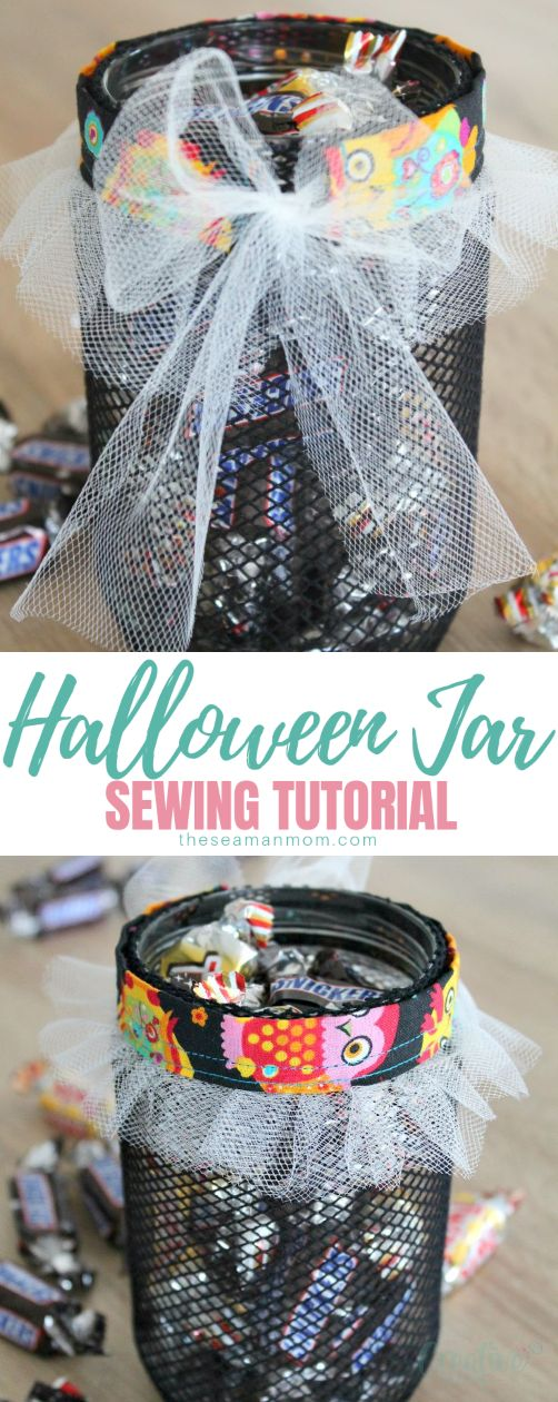 Halloween offers a great opportunity to use mason jars in whole new and fun ways! Here's an easy craft/sewing tutorial for a Halloween Jar, perfect to use a a little home decor, for treats or Halloween parties! So easy to make, useful and looks so adorable! via @petroneagu
