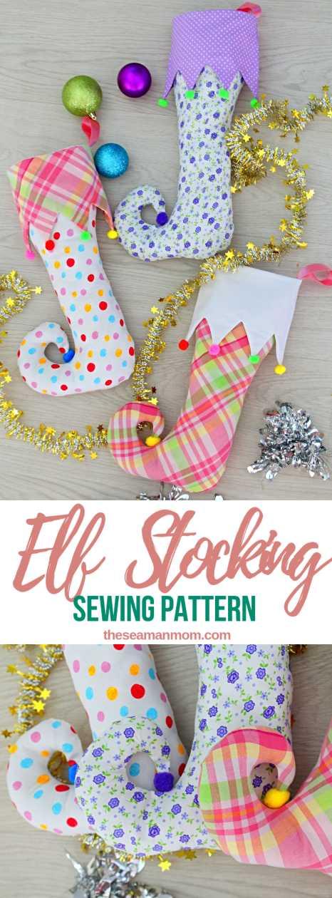 Free sewing pattern: Elf Christmas stocking