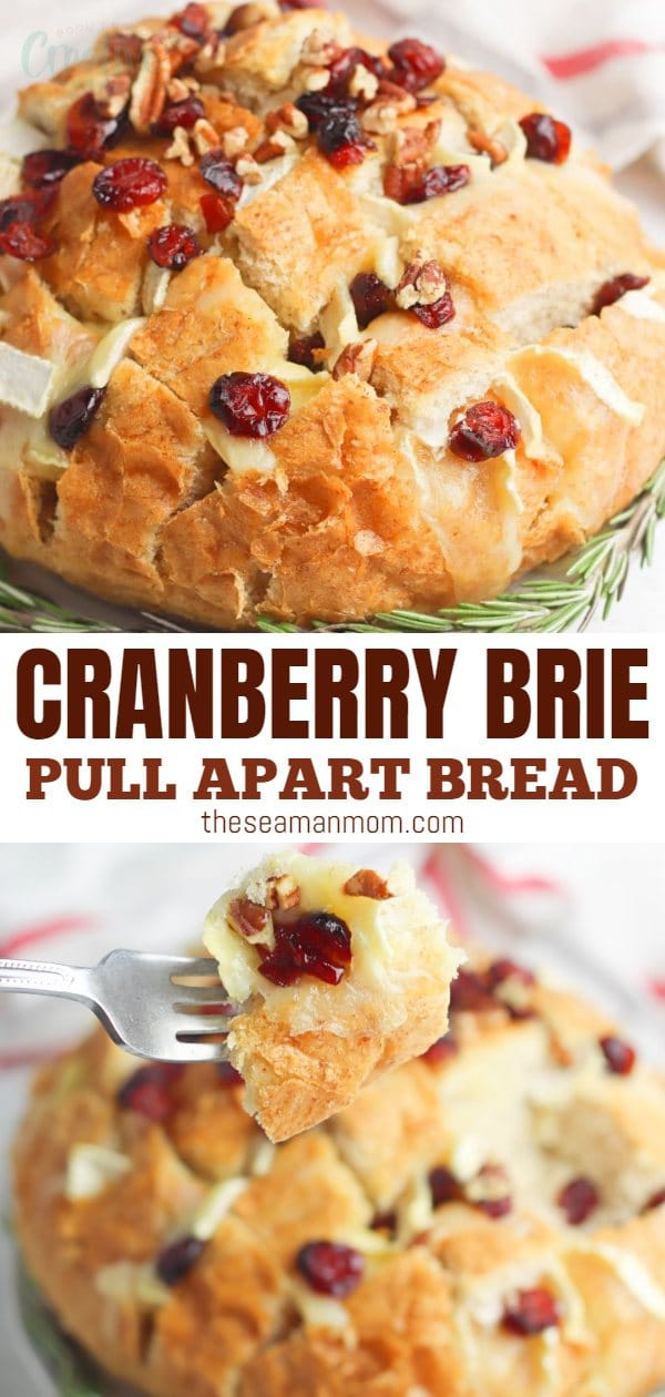 If you're looking for cheesy pull apart bread ideas for a holiday party, you're in the right place! This cranberry brie pull apart bread is full of classic holiday flavors with a delicious new twist! Brie recipes are the perfect holiday appetizers! via @petroneagu