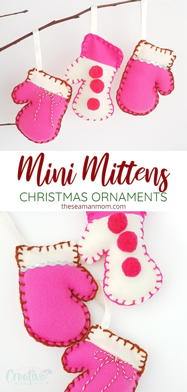 I love how adorable these mitten ornaments are! They'll add so much warmth to your Christmas decor, they're crazy easy to make and not to mention these mitten Christmas ornaments are perfect for using up fabric scraps! via @petroneagu