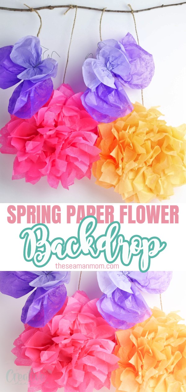 Spring is a season filled with beautiful outdoor colors and rich colored florals! For a fun spring party, create this DIY paper flower backdrop with tissue paper. This paper flower backdrop is adorable and versatile and can be used not only for a party but as wall decor around the house as well for an extra pop of color! via @petroneagu