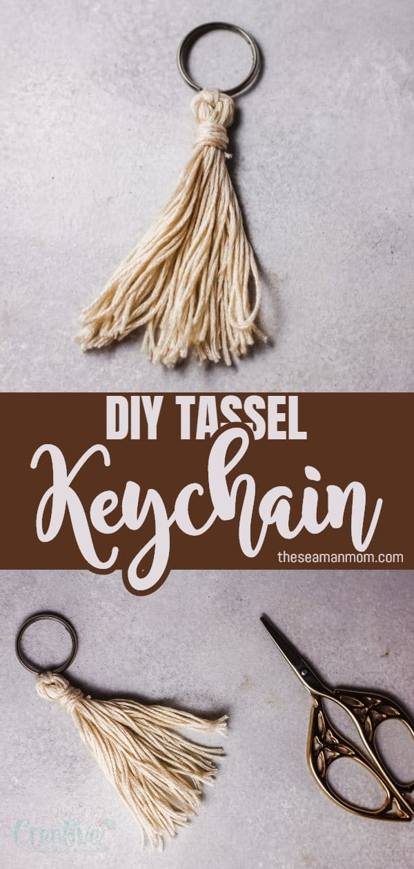 Learn how to make your own boho keychain that's the perfect gift! This DIY tassel keychain is super fun to make and the end result is a beautiful and super customizable tassel keyring that can be used for so many things! via @petroneagu