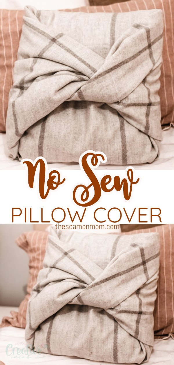 This super easy no sew pillow cover is a great beginner project and perfect if you are on a tight budget and want to give your old pillows new life! Best of all? This 10 minute no sew pillowcase is easy to wash and put back on. via @petroneagu