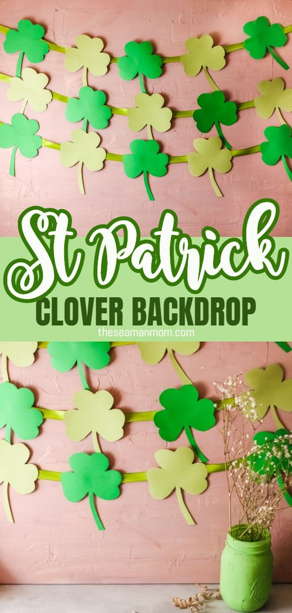This St Patrick's Day Backdrop is the perfect addition to any St Patrick's Day party you plan hosting this year. Made with just cardboard and ribbon it's easy enough for the little ones to help. via @petroneagu