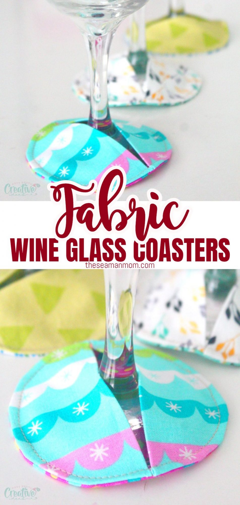 DIY fabric coasters for wine glasses