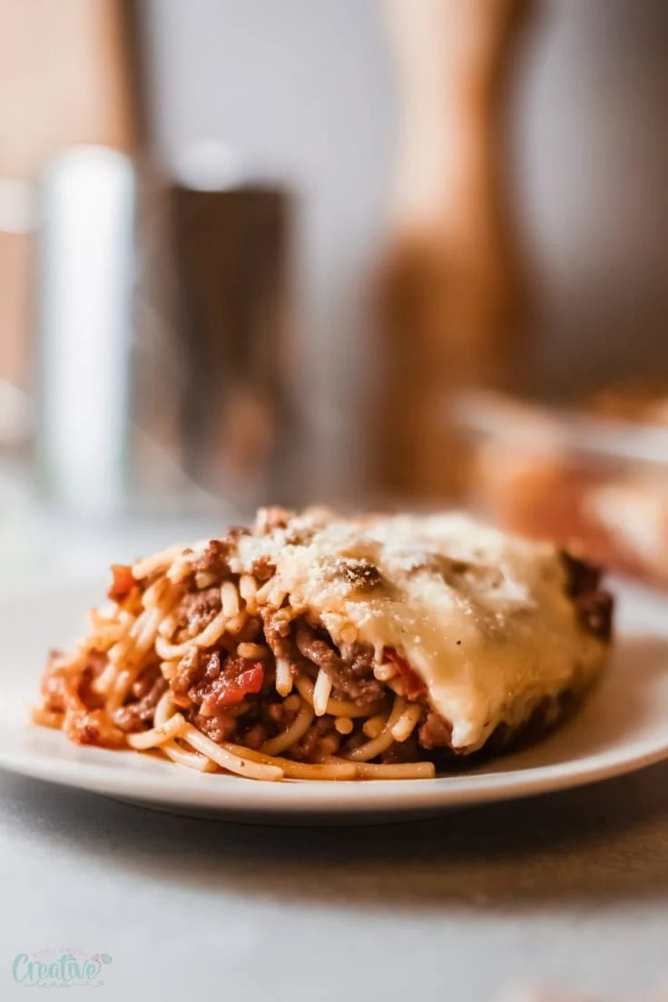 Ground beef spaghetti casserole