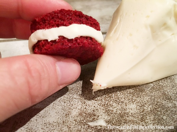 Red velvet peppermint button cookies