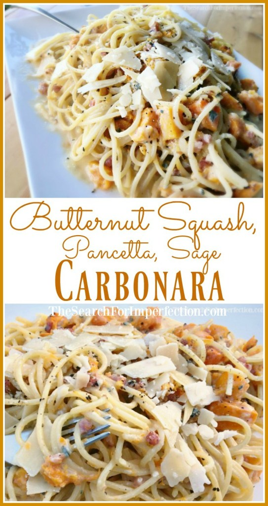 Delicious butternut squash, pancetta, sage carbonara is so easy and delicious!
