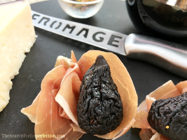 Close Up Fig Nestled in Proscuitto