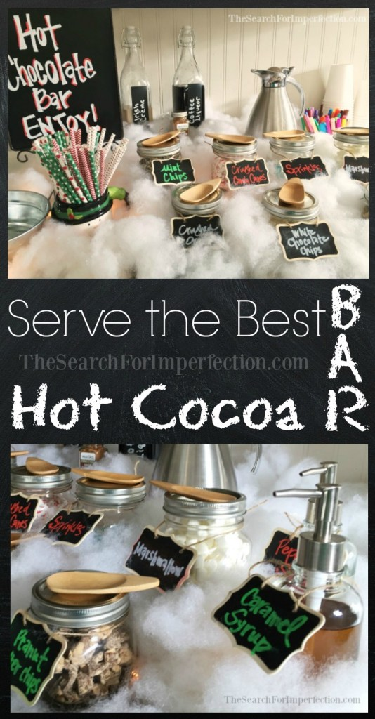 This cute and easy hot cocoa bar is the perfect addition to any winter party!