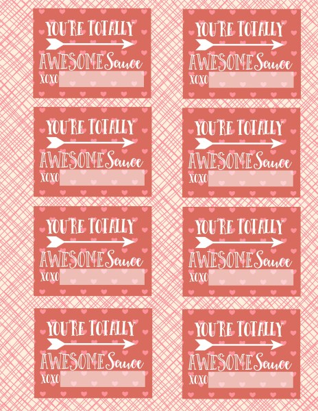 You're Totally Awesomesauce Valentine Printable