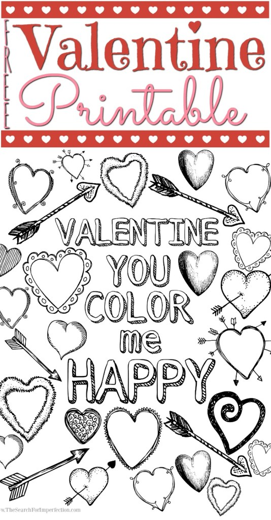 Here's a cute Valentine coloring page printable your kid can take to school!